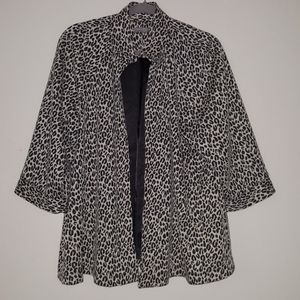 NY Collection Women's Leopard Print Jacket
